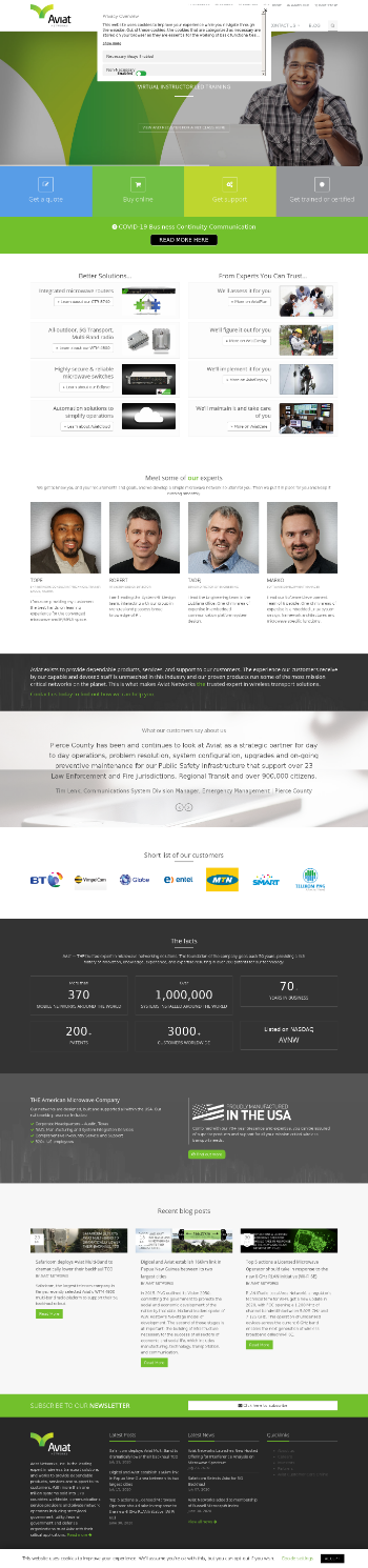 Aviat Networks, Inc. Website Screenshot