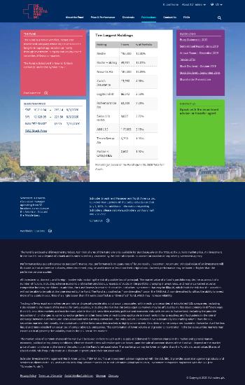 The Swiss Helvetia Fund Inc. Website Screenshot
