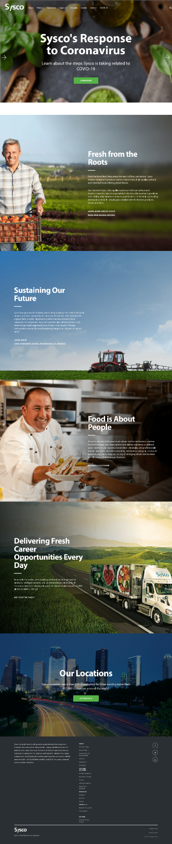 Sysco Corporation Website Screenshot