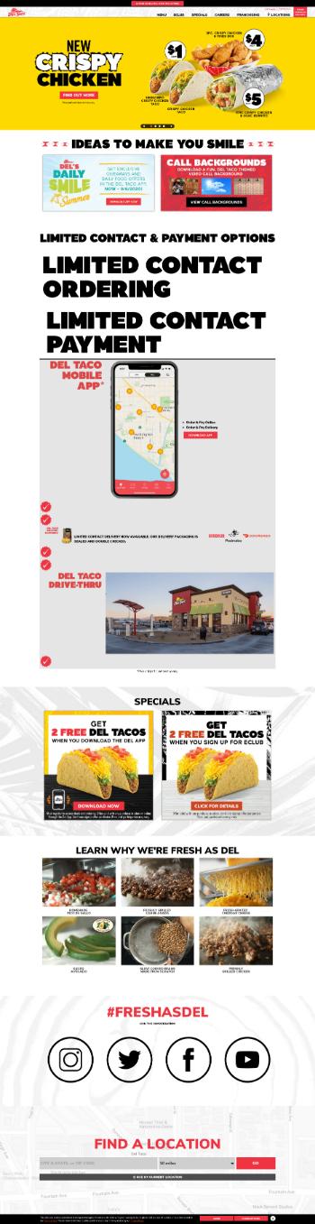 Del Taco Restaurants, Inc. Website Screenshot