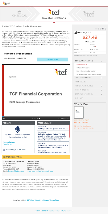 TCF Financial Corporation Website Screenshot