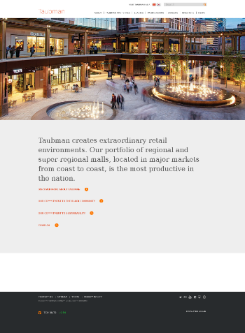 Taubman Centers, Inc. Website Screenshot