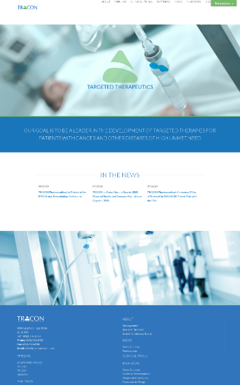 TRACON Pharmaceuticals, Inc. Website Screenshot