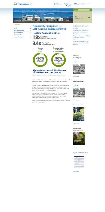 TC PipeLines, LP Website Screenshot