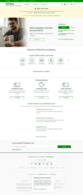 The Toronto-Dominion Bank Website Screenshot