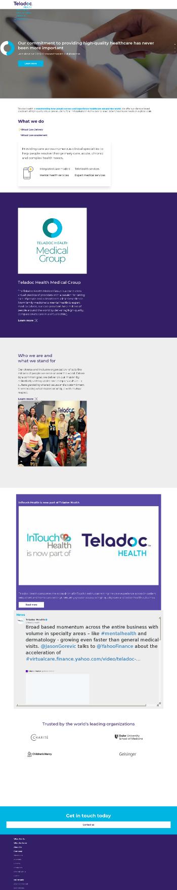 Teladoc Health, Inc. Website Screenshot