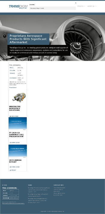 TransDigm Group Incorporated Website Screenshot