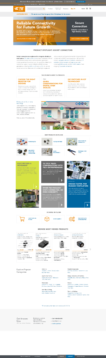 TE Connectivity Ltd. Website Screenshot