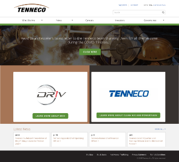 Tenneco Inc. Website Screenshot