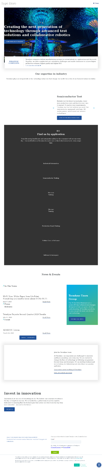 Teradyne, Inc. Website Screenshot