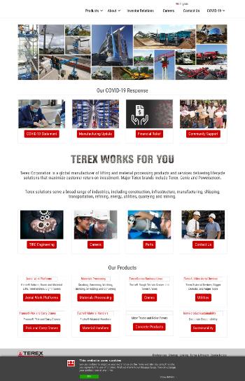 Terex Corporation Website Screenshot