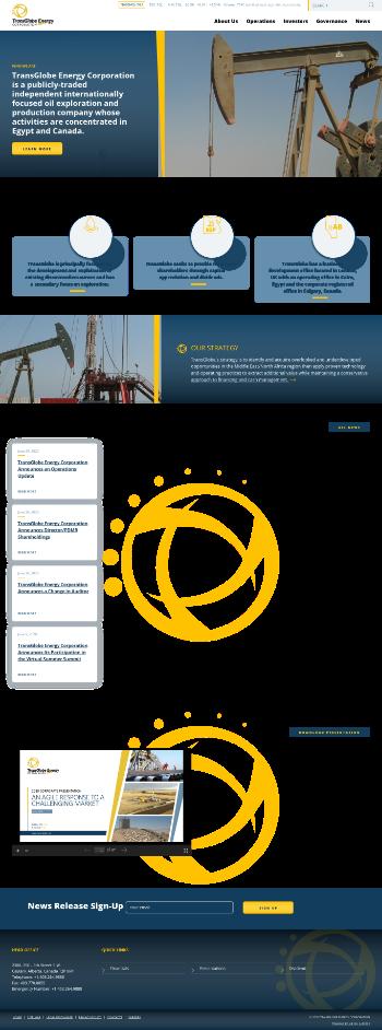 TransGlobe Energy Corporation Website Screenshot
