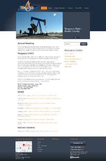 Tengasco, Inc. Website Screenshot