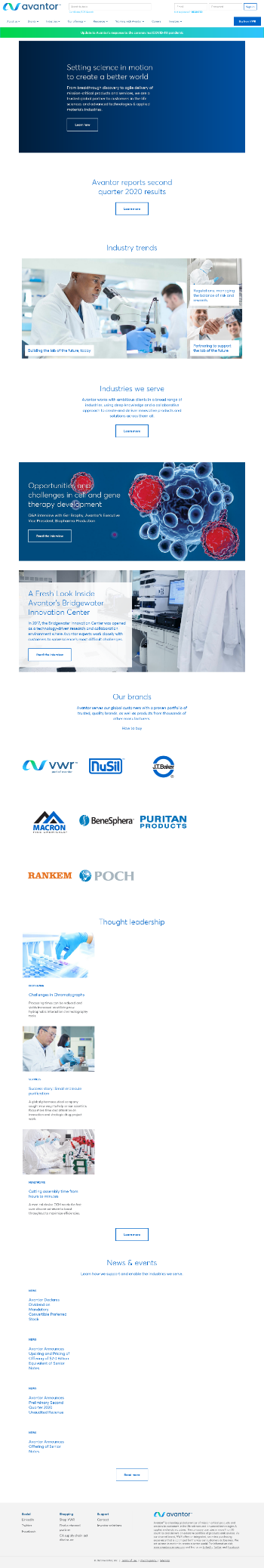 Avantor, Inc. Website Screenshot