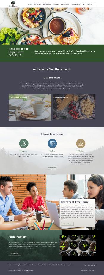 TreeHouse Foods, Inc. Website Screenshot