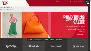 The TJX Companies, Inc. Website Screenshot