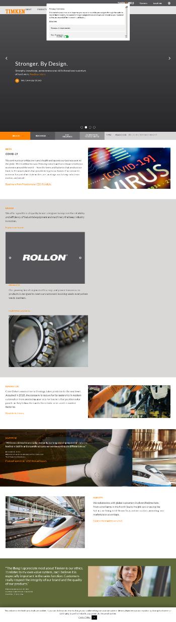The Timken Company Website Screenshot