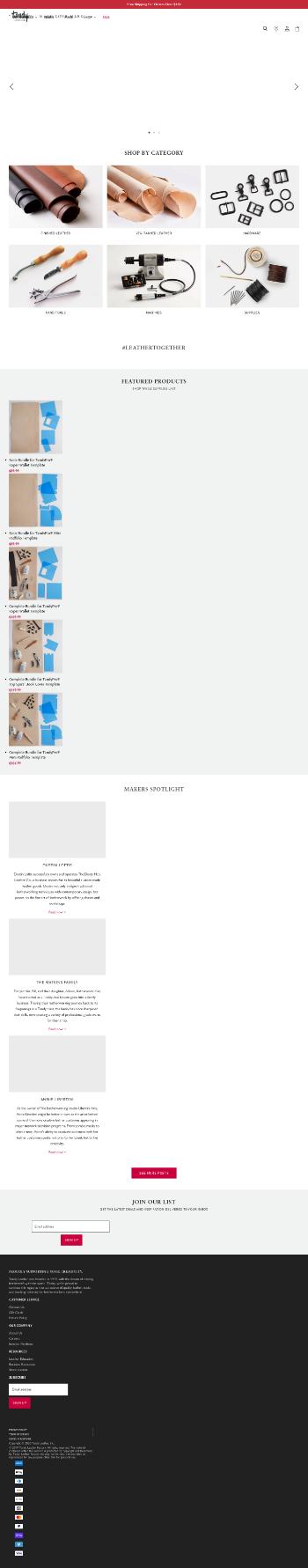Tandy Leather Factory, Inc. Website Screenshot