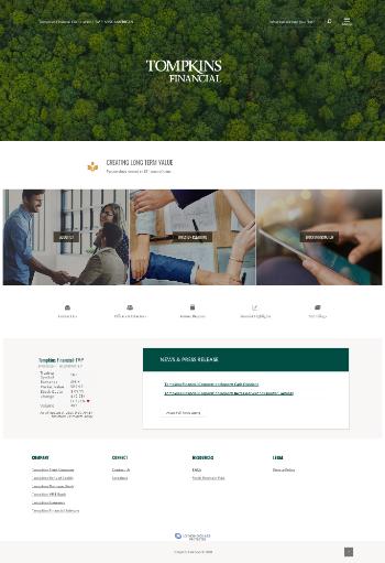 Tompkins Financial Corporation Website Screenshot