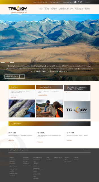 Trilogy Metals Inc. Website Screenshot