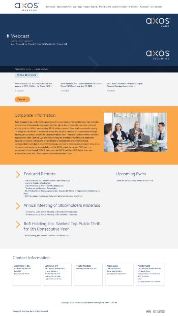 Axos Financial, Inc. Website Screenshot