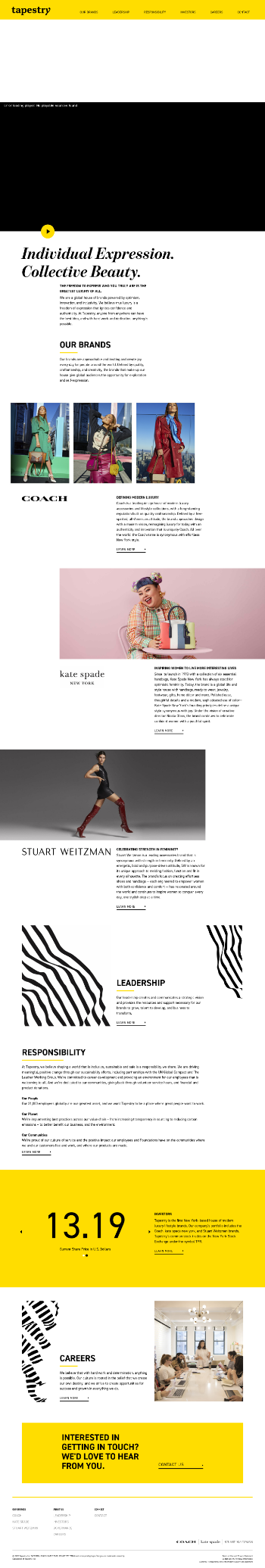 Tapestry, Inc. Website Screenshot