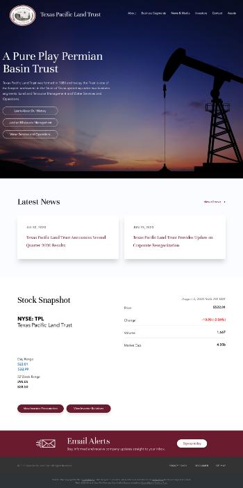 Texas Pacific Land Trust Website Screenshot
