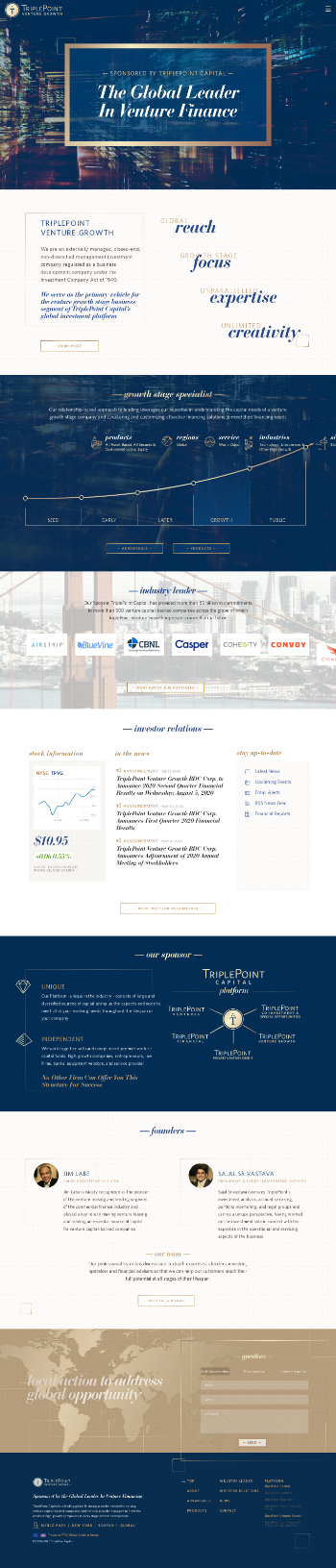 TriplePoint Venture Growth BDC Corp. Website Screenshot