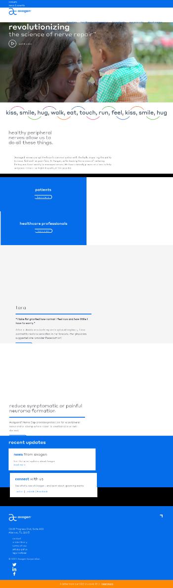 AxoGen, Inc. Website Screenshot