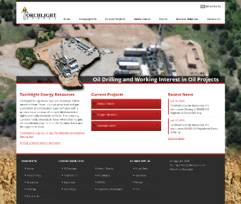 Torchlight Energy Resources, Inc. Website Screenshot