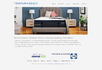 Tempur Sealy International, Inc. Website Screenshot