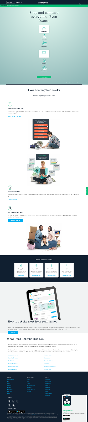 LendingTree, Inc. Website Screenshot