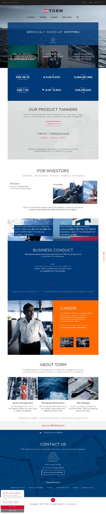 TORM plc Website Screenshot
