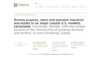 Terreno Realty Corporation Website Screenshot