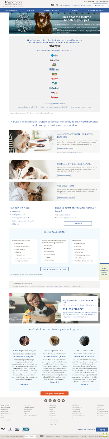 Trupanion, Inc. Website Screenshot