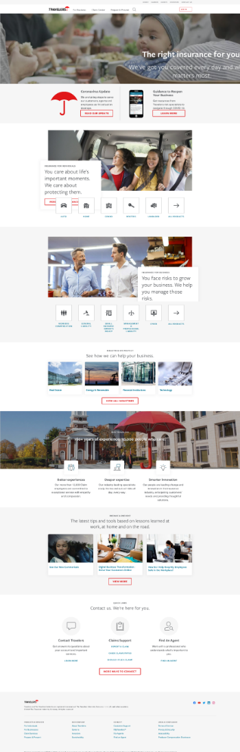 The Travelers Companies, Inc. Website Screenshot