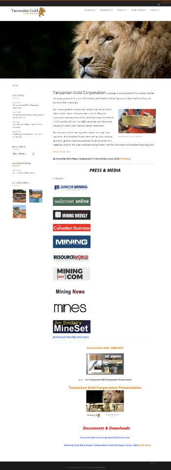 Tanzanian Gold Corporation Website Screenshot