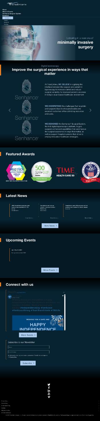 TransEnterix, Inc. Website Screenshot