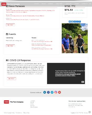 The Toro Company Website Screenshot