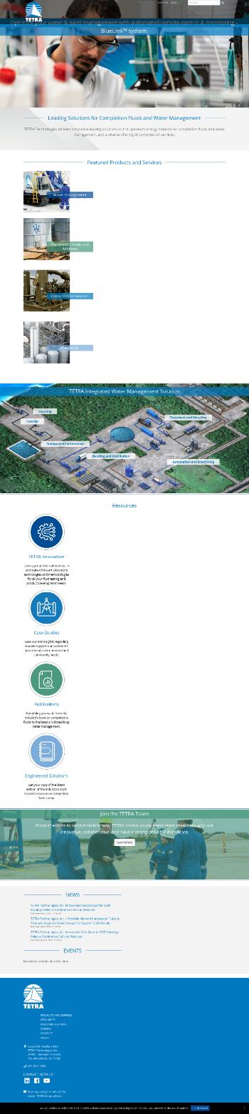 TETRA Technologies, Inc. Website Screenshot