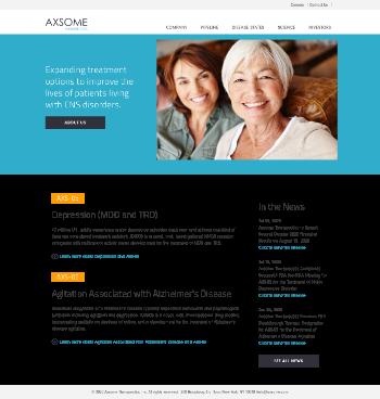 Axsome Therapeutics, Inc. Website Screenshot