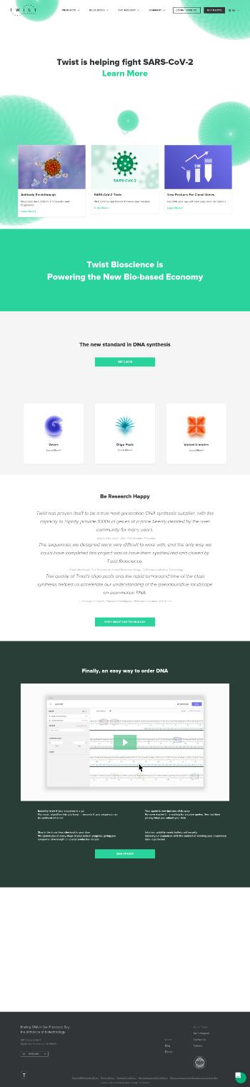 Twist Bioscience Corporation Website Screenshot