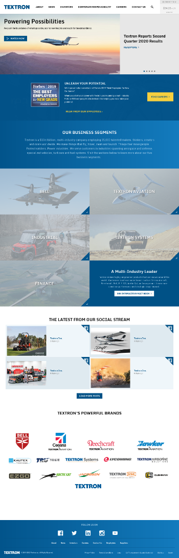 Textron Inc. Website Screenshot