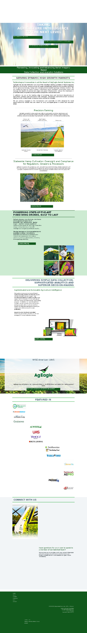 AgEagle Aerial Systems, Inc. Website Screenshot