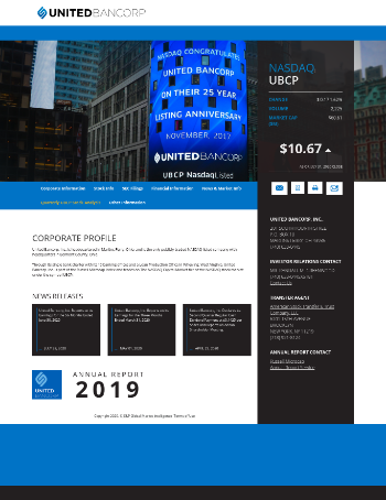 United Bancorp, Inc. Website Screenshot