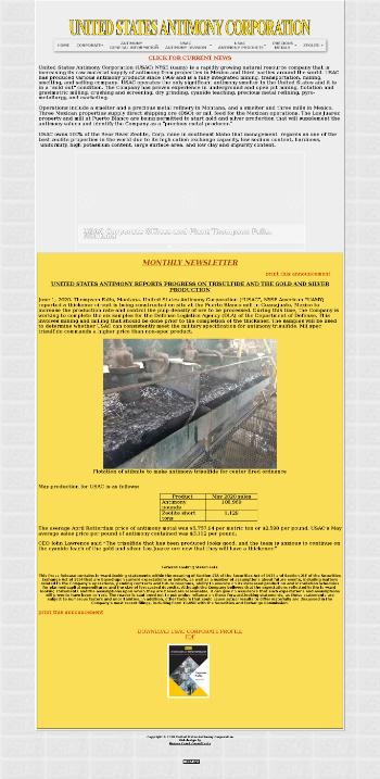 United States Antimony Corporation Website Screenshot
