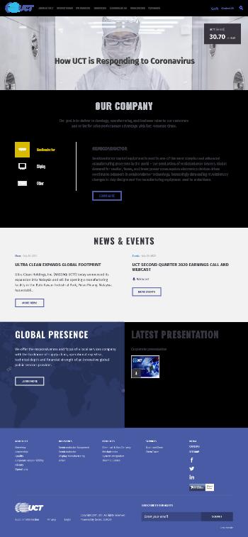 Ultra Clean Holdings, Inc. Website Screenshot