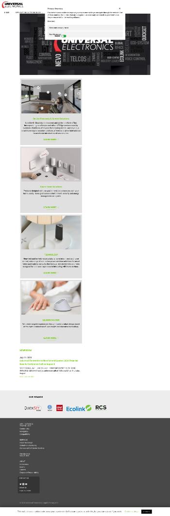 Universal Electronics Inc. Website Screenshot