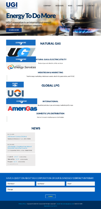 UGI Corporation Website Screenshot