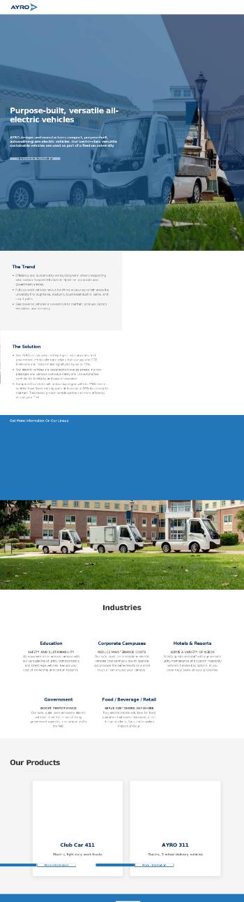 Ayro, Inc. Website Screenshot